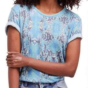 Free People | Print Me Perfect Blue Snakeskin Tee
